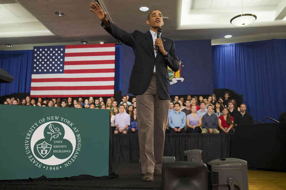President Obama speaks at a town hall-style meeting at SUNY Binghamton on Friday.