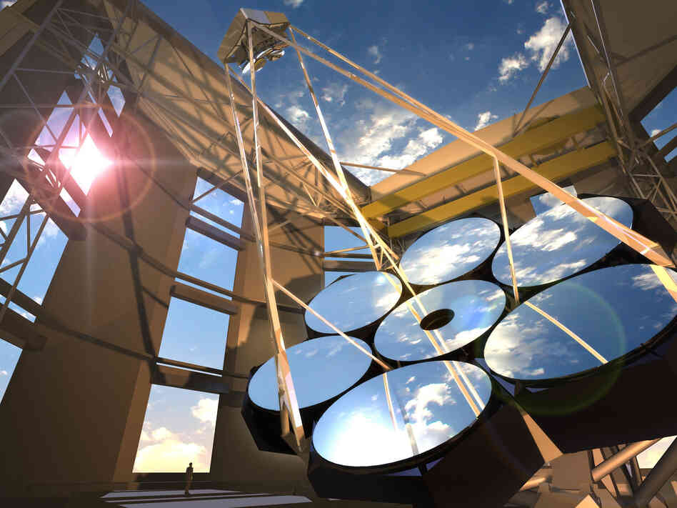 An artist's concept of the completed Giant Magellan Telescope (GMT)