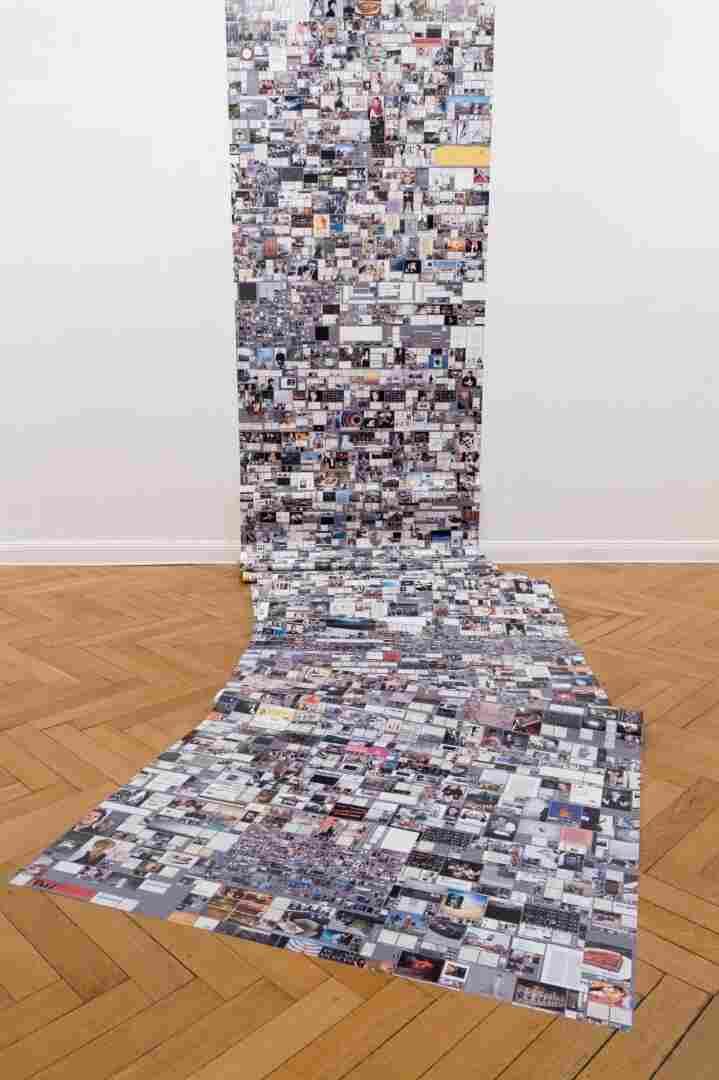 "Evan Roth's work titled ""Internet Cache Self Portrait"" on display in Paris."