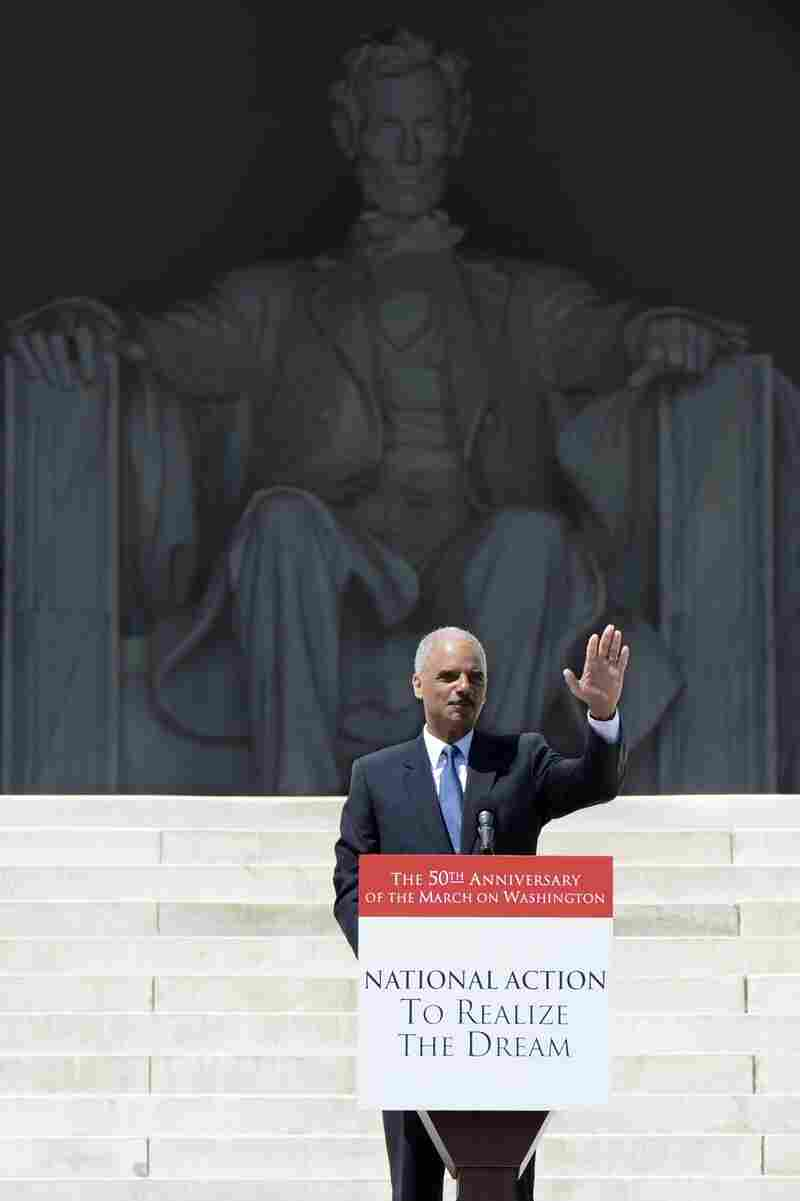 Attorney General Eric Holder speaks on the steps of the Lincoln Memorial during the March on Washington 50th anniversary rally in Washington, D.C., on Saturday.
