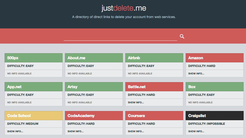 Direct links to deleting your old accounts, all on one page.