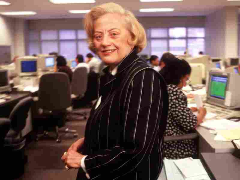 Muriel Siebert stands on the trading floor of her discount brokerage and underwriting firm in New York on May 9,1995. Siebert died Saturday in New York. She was 80.