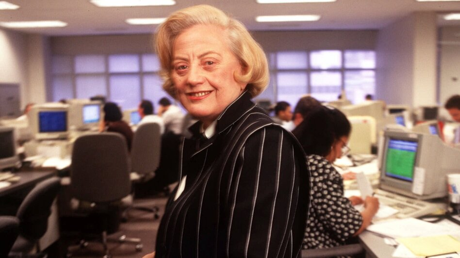 Muriel Siebert stands on the trading floor of her discount brokerage and underwriting firm in New York on May 9,1995. Siebert died Saturday in New York. She was 80. (AP)