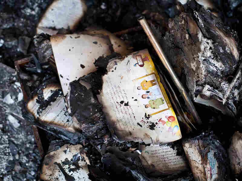 Burnt books in the Amir Tadros Coptic Church in Minya, Egypt.