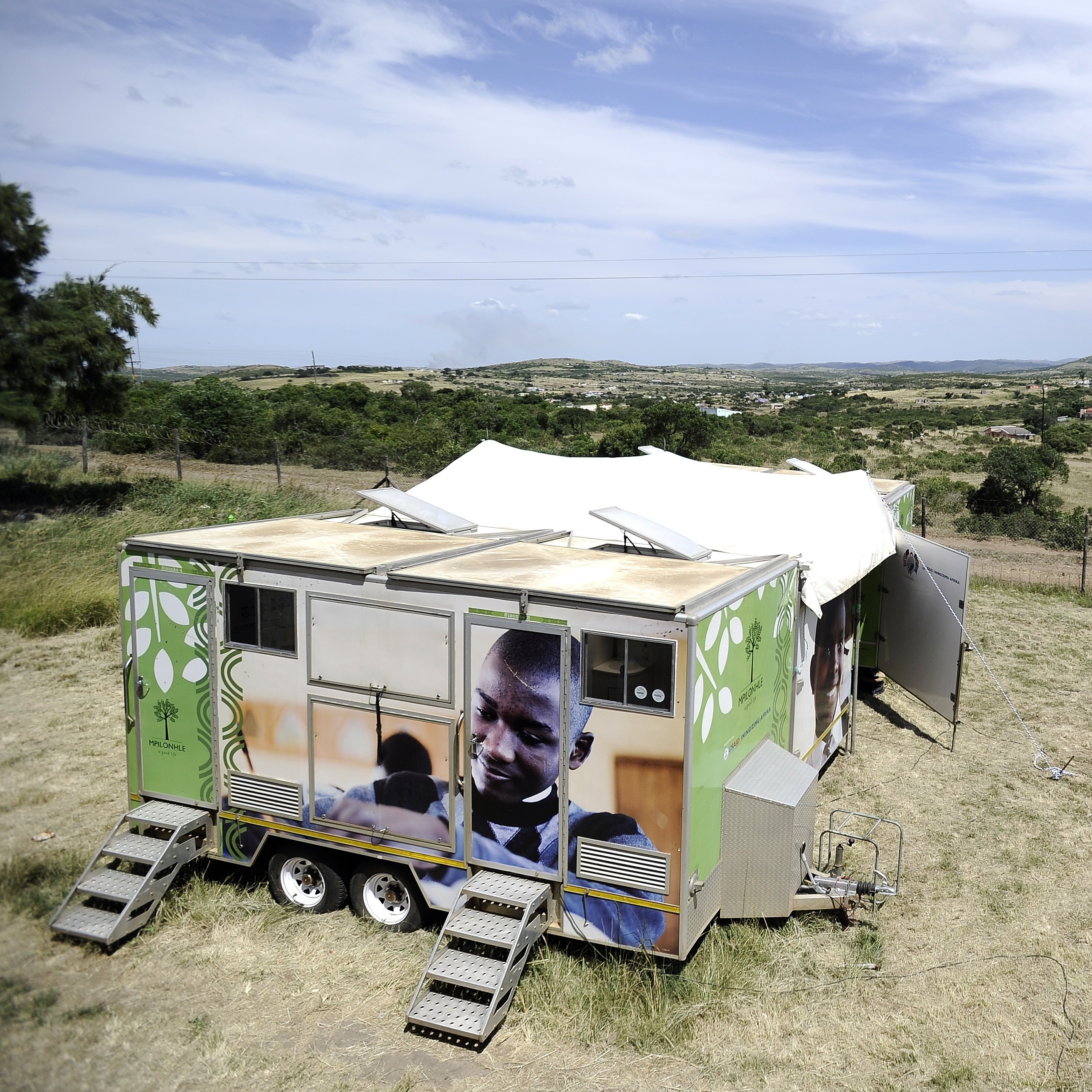 A mobile clinic is set up to test students for HIV at Madwaleni High School near Mtubatuba in KwaZulu-Natal, South Africa.