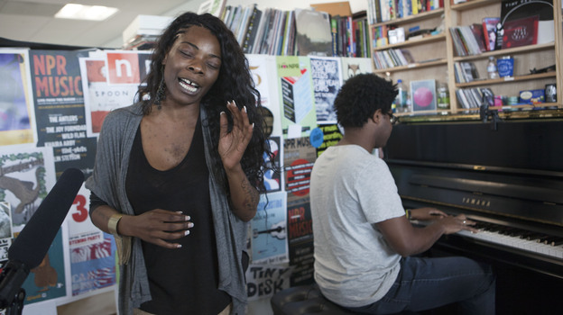 The Buika performs a Tiny Desk Concert in June 2013. (Hayley Bartels/NPR)