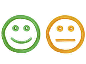 A simple illustration of a smiley face, blank face and sad face.
