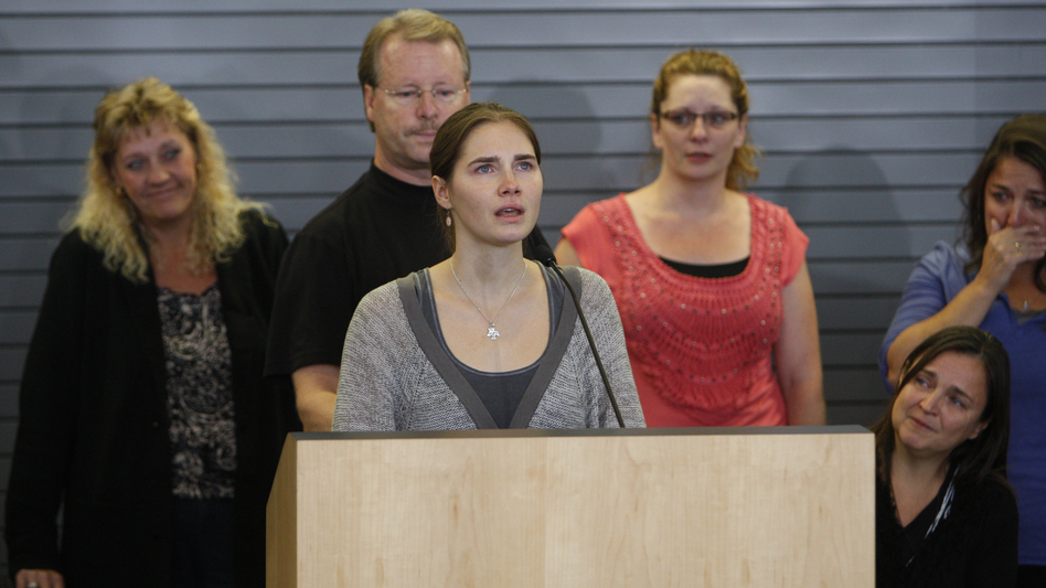 In 2011, Amanda Knox spoke to the media after arriving in the U.S., following a years-long criminal case against her in the death of a roommate in Italy. A new trial for Knox is planned to begin in Florence, Italy, next month. (AFP/Getty Images)