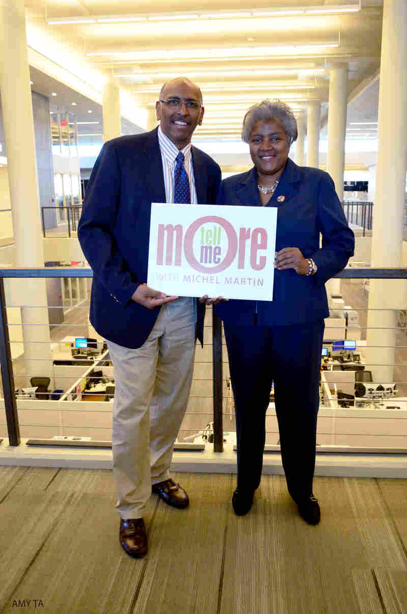 Former RNC chairman Michael Steele and Democratic strategist Donna Brazile after their conversation with Tell Me More host Michel Martin.