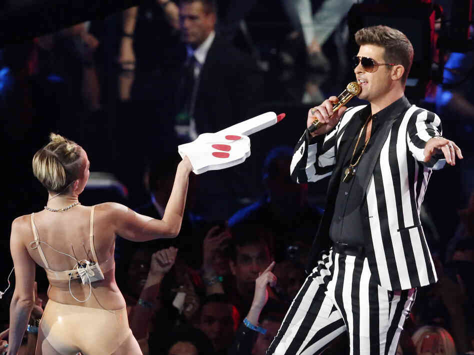 Singers Miley Cyrus and Robin Thicke during Sunday night's MTV Video Music Awards in New York.