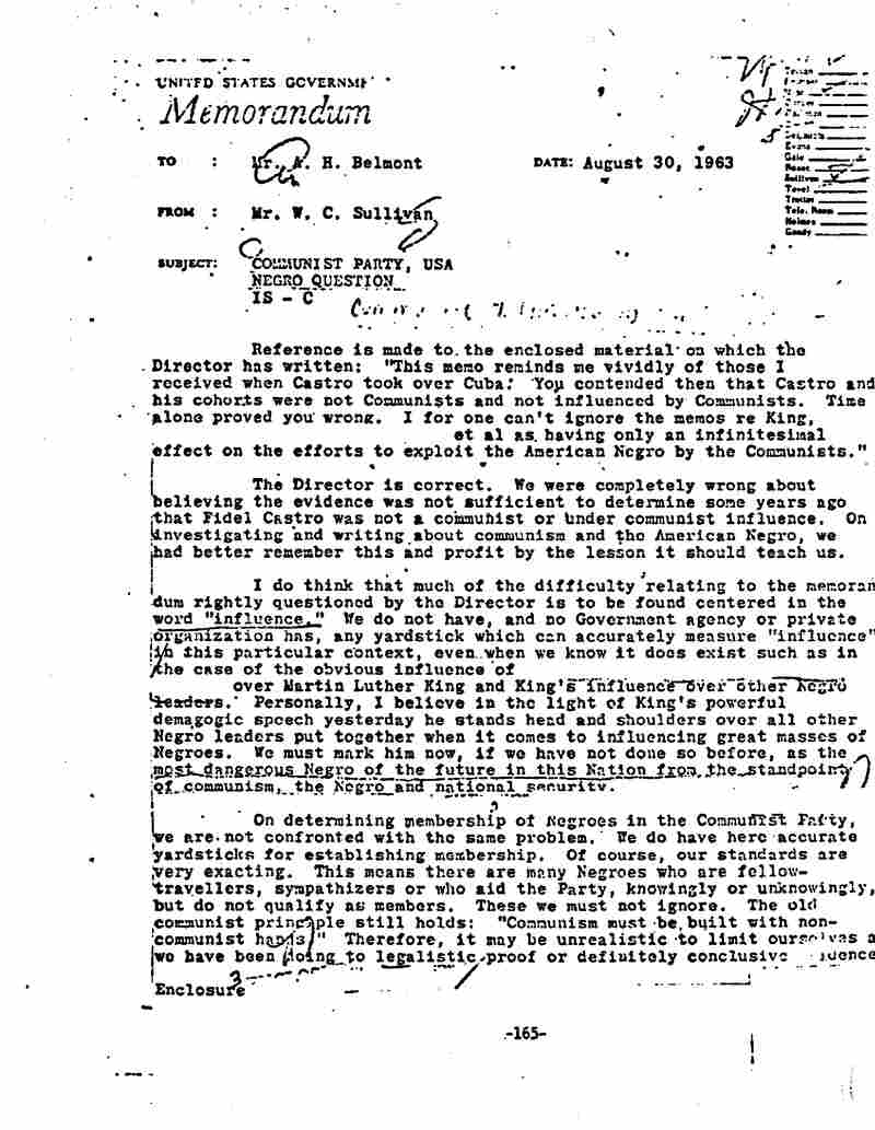 "An FBI memo sent two days after the March on Washington identified Martin Luther King as ""the most dangerous Negro of the future in this nation.""  Click here to read a page of the original memo, and here for a collection of FBI material on King."