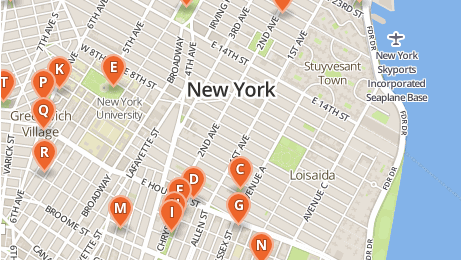Map showing where some playgrounds are located in New York City.