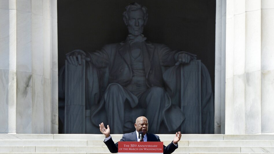 Rep. John Lewis, D-Ga., speaks Saturday at the Lincoln Memorial during activities to commemorate the 50th anniversary of the March on Washington. (Michael Reynolds/EPA /Landov)