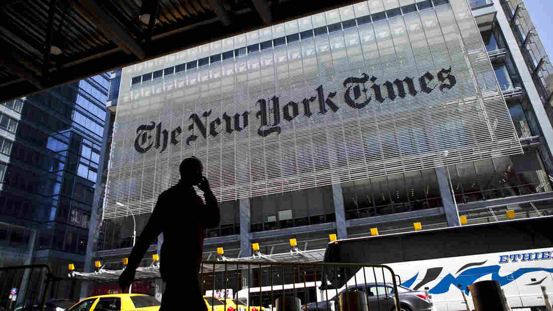 The New York Times headquarters building in New York City.