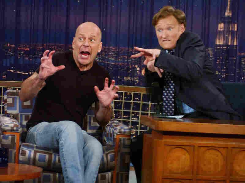 Conan O'Brien interviews Bruce Willis in a 2005 episode of Late Night With Conan O'Brien.