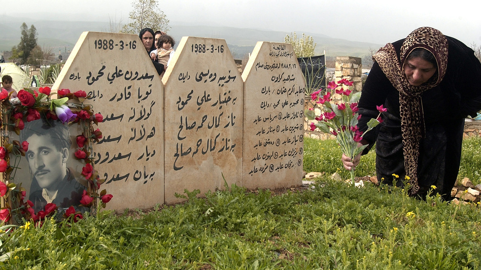 A Kurdish woman places flowers at graves of her loved ones in Halabja, Iraq, on March 16, 2007, as Kurds in northern Iraq commemorated the anniversary of a 1988 chemical weapons attack that killed an estimated 5,600 people. (AP)