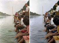 Demonstrators sit, with their feet in the Reflecting Pool. Colorized by Sanna Dullaway (left) and Deborah Humphries (right).