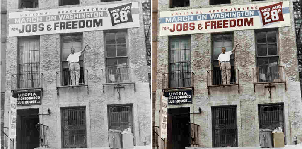 Cleveland Robinson stands on the second floor balcony of the National Headquarters of the March on Washington in Harlem, N.Y. Colorized by B. Cakebread.
