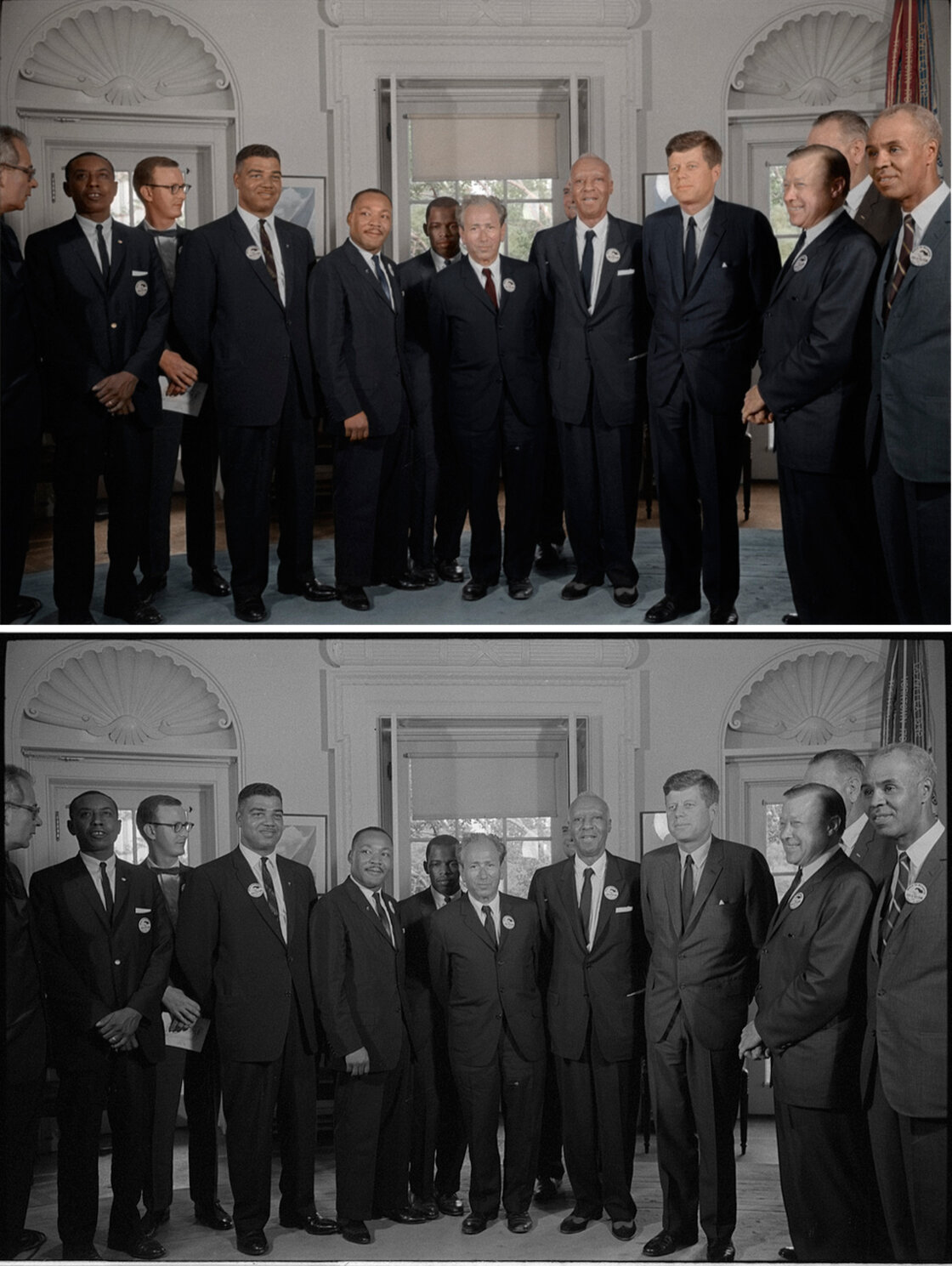 Civil rights leaders meet with President John F. Kennedy in the oval office of the White House after the March on Washington. Colorized by Mads Madsen.