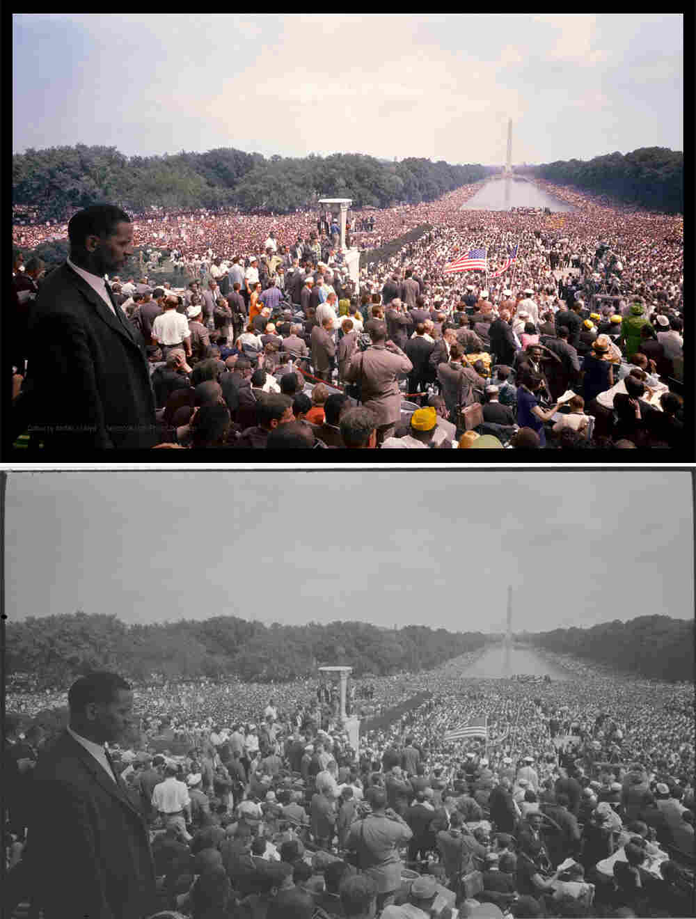 View of the huge crowd from the Lincoln Memorial to the Washington Monument. Colorized by Jordan J. Lloyd.