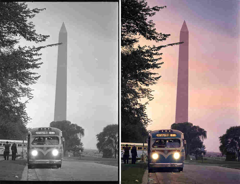 A bus leaves Washington after the march. Colorized by Rick Pierce.