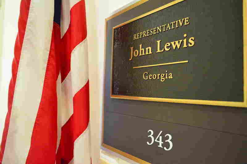 Rep. John Lewis' name plate at the entrance of his Washington D.C. office.