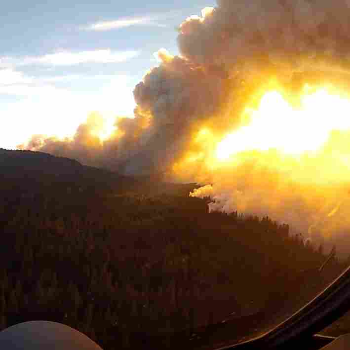 A view of California's Rim Fire from the cockpit of a California Air National Guard tanker plane.