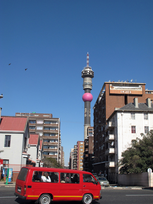 The Hillbrow Tower, located in the crime-ridden neighborhood of Hillbrow, is the tallest structure in Africa and dominates the Johannesburg skyline.
