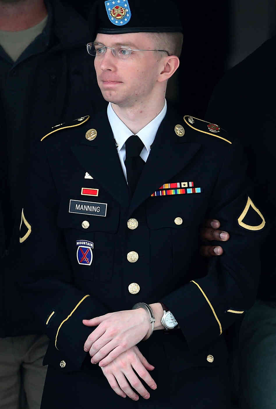 Army Pvt. Chelsea Manning on Aug. 20 (before her sentencing, demotion from private first class and announcement that she no longer wished to be known as Bradley Manning).