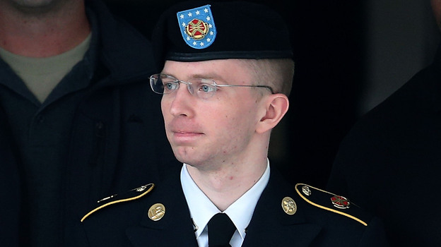 Army Pvt. Chelsea Manning on Aug. 20 (before her sentencing, demotion from private first class and announcement that she no longer wished to be known as Bradley Manning). (Getty Images)
