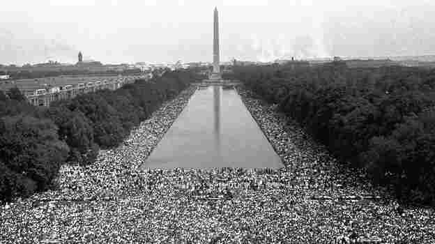 """Crowds gather in front of the Washington Monument during the """"March on Washington For Jobs and Freedom"""" in 1963."""