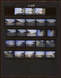 A contact sheet shows buses leaving Washington, D.C., after the march. Colorized by Samm Dove.