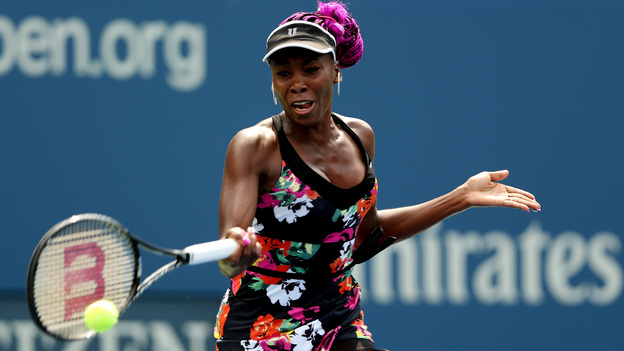 Venus Williams hits a forehand during her first-round win over Kirsten Flipkens of Belgium Monday. (Getty Images)