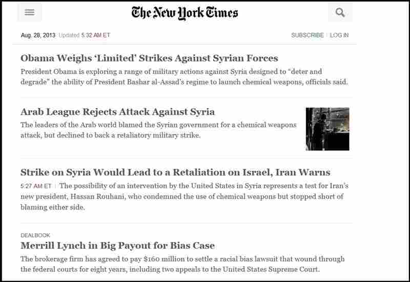 The New York Times' alternate site.