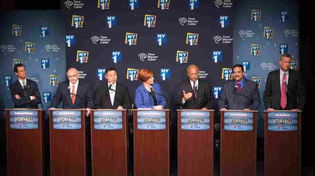 The Democratic candidates for mayor of New York City face off for a debate on Aug. 21. From left: Anthony Weiner, Sal Albanese, John Liu, Christine Quinn, Bill Thompson, Erick Salgado and Bill de Blasio.