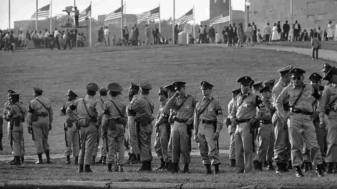 Army military policemen line up on the grounds of the Washington Monument for duty during the 1963 March on Washington.