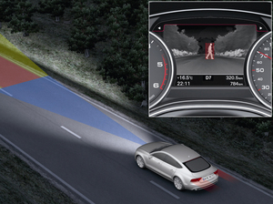 Audi's night vision assistant, an example of how car companies are making cars that are part of drivers' digital lives.