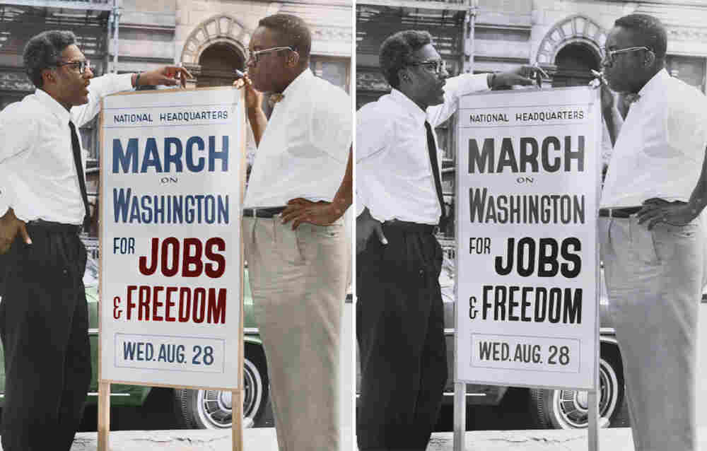 Bayard Rustin (left), deputy director of the March on Washington, and Cleveland Robinson, chairman of administrative committee. Colorized by Cyriel Roumen.