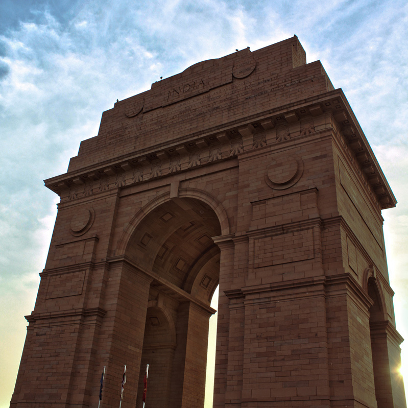 The India Gate, designed by Sir Edwin Lutyens, stands at one end of the Rajpath in New Delhi.