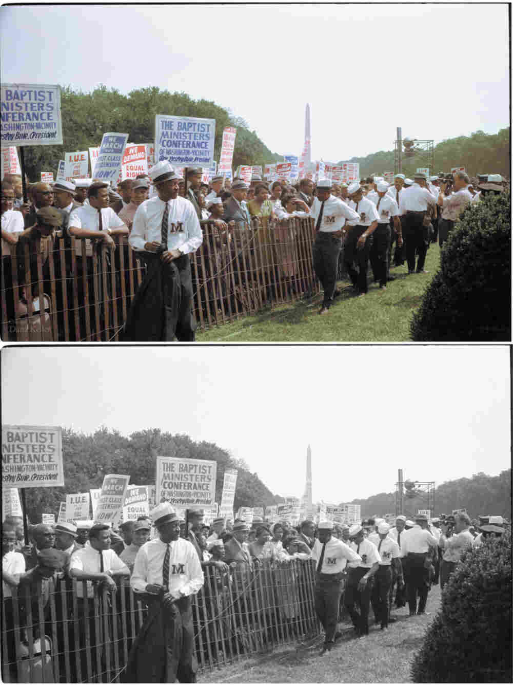 Marshals watch the crowd during the march. Colorized by Dana Keller.