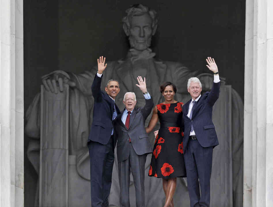 President Obama, first lady Michelle Obama and former presidents Jimmy Carter and Bill Clinton at the March on Washington 50th anniversary celebration.