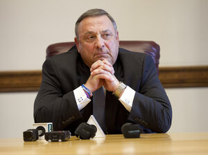 Gov. Paul LePage speaks to reporters shortly after the Maine House and Senate both voted to override his veto of the state budget on June 26 in Augusta.