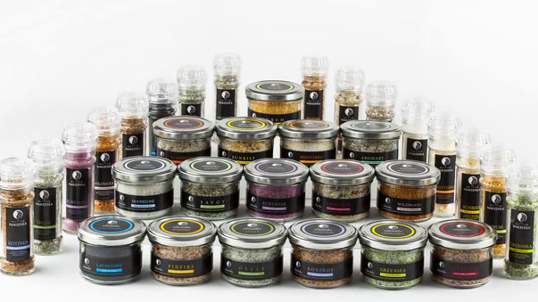 Naked Sea Salt offers an array of flavored salts, including garlic and ginger, sweet orange and chili, even carbon.
