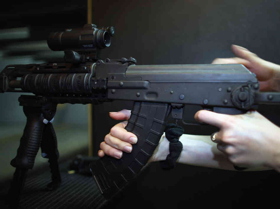 A weapon is used on the indoor firing range at th