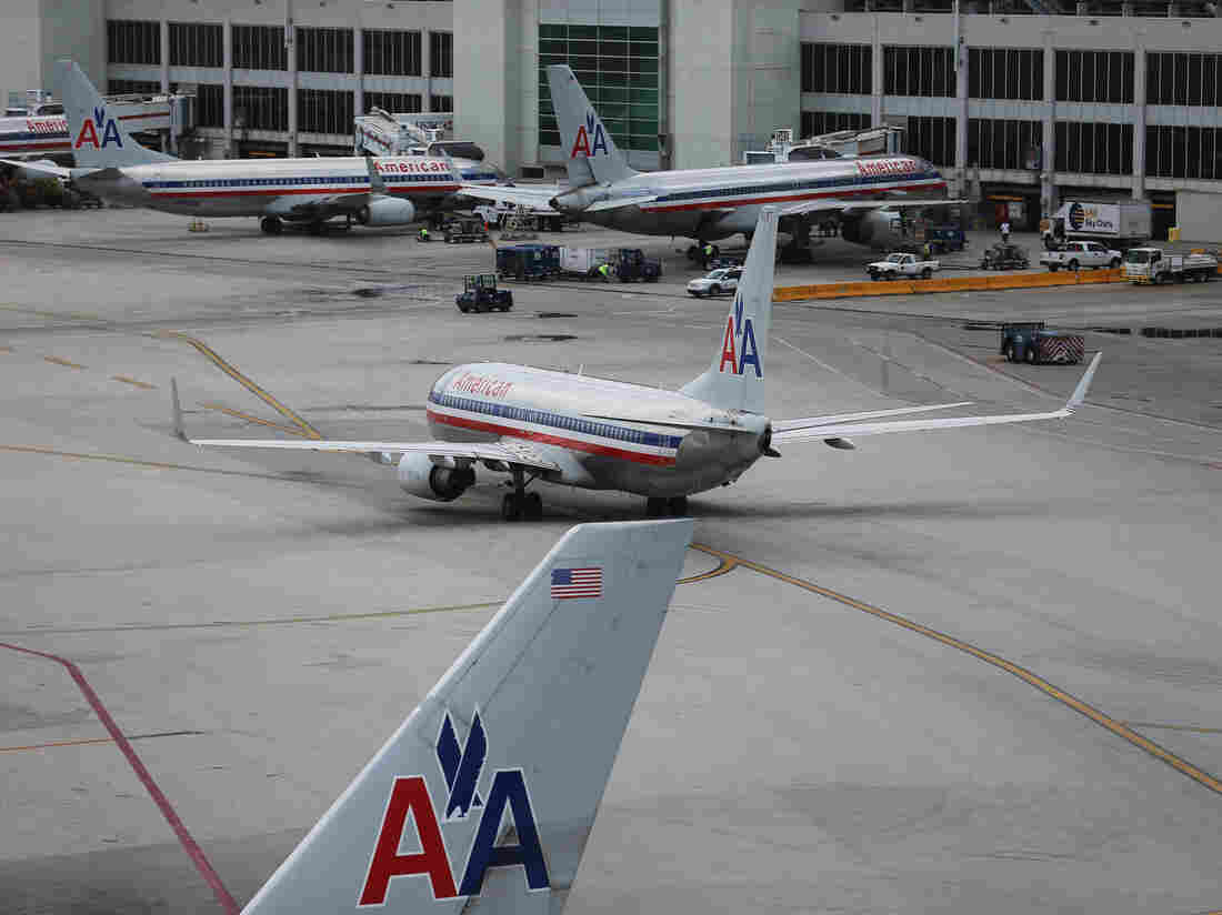 American Airlines aircraft sit on the tarmac at Miami International Airport last week.