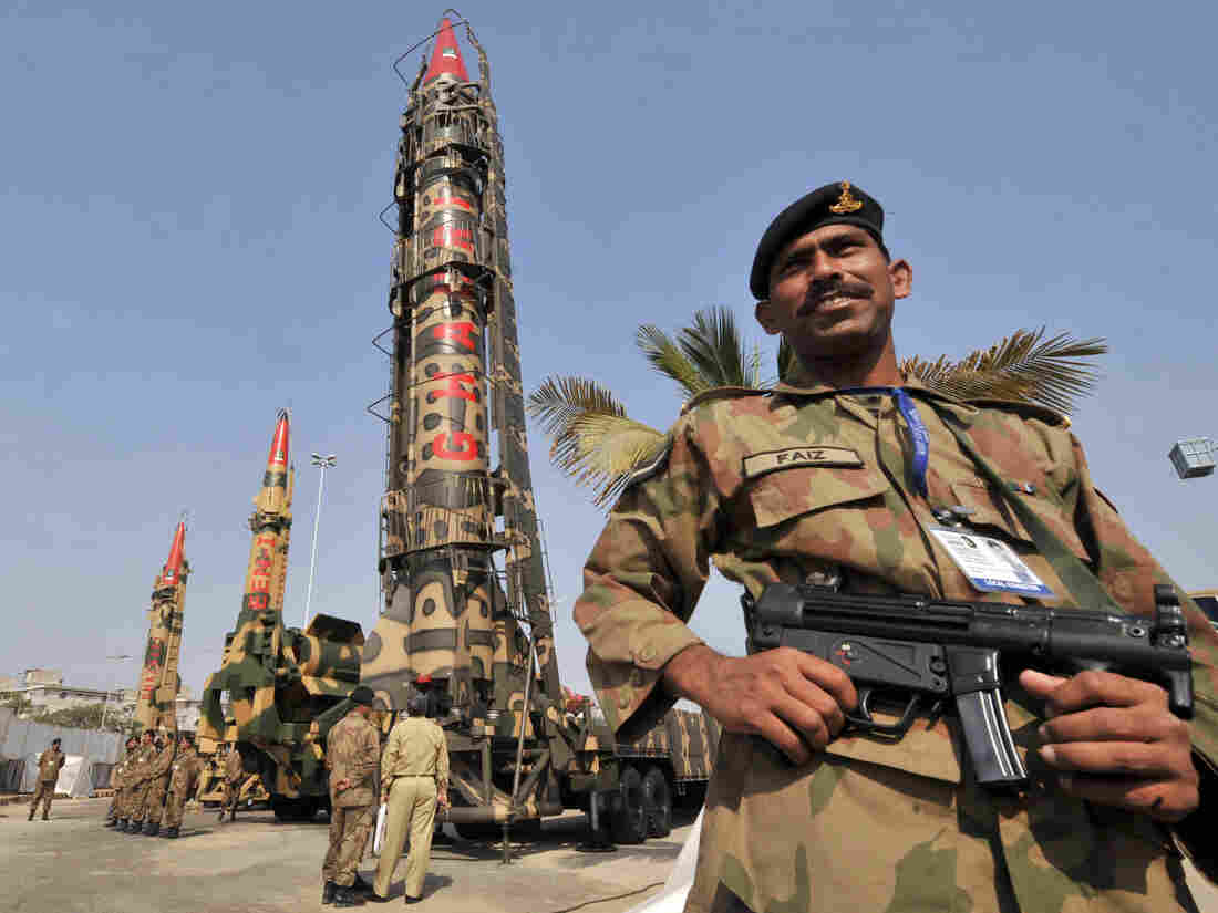 """Pakistani Army soldiers guard nuclear-capable missiles at the International Defence Exhibition in Karachi in 2008. The Washington Post reports that concern over their security is a """"blind spot"""" in U.S. intelligence efforts."""
