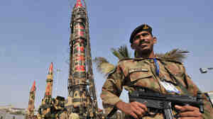 "Pakistani Army soldiers guard nuclear-capable missiles at the International Defence Exhibition in Karachi in 2008. The Washington Post reports that concern over their security is a ""blind spot"" in U.S. intelligence efforts."