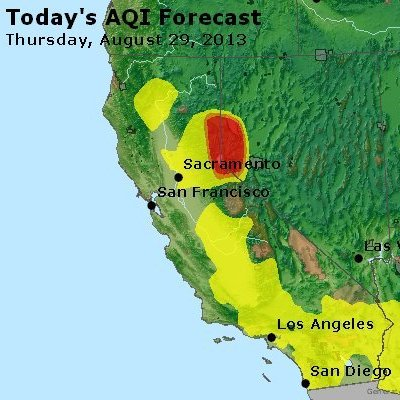 "That red area is where the air will be ""unhealthy"" on Thursday, and likely for days to follow, because of the Rim Fire."