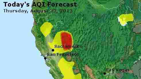 """That red area is where the air will be """"unhealthy"""" on Thursday, and likely for days to follow, because of the Rim Fire."""