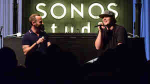 KCRW music director Jason Bentley and EDM producer Pretty Lights participate in a Q&A session with fans at Sonos Studio in Los Angeles, California.